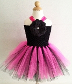 Black Neon Pink Crochet Tutu Dress