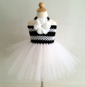 Black White Crochet Tutu Dress