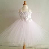 Lg. White Crochet Tutu Dress