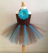 Brown/Turquoize Crochet Tutu Dress