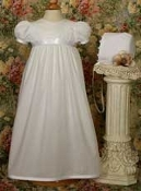 "Baptism/Christening Gown-24"" POLY COTTON GOWN W/LACE TRIM"