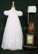 "Baptism/Christening Gown-26"" COTTON GOWN W/FLOWER APPLIQUE"