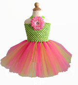 Lime Green/Hot Pink Crochet Tutu Dress