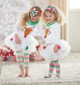Mudpie Reindeer Tunic and Pom Pom Tutu Legging Set