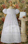 Baptism Cotton Gown with Lace Border