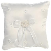 Satin with pearled flowers - Ring bearer pillow