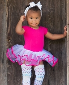 Rufflebutts Short Sleeve Fushia & White Tutu Leotard