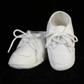 Cotton Boy's White Baptism Booties