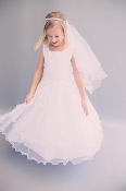 Girls Lace Trim Tulle Dress,communion mississauga,communion dress mississauga,communion dress canada,communion dress ,veil,communion veil