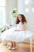Girls Embroidered Satin Dress with Organza ,communion mississauga,communion dress mississauga,communion dress canada,communion dress ,veil,communion veil