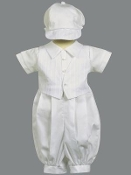 Cotton romper with embroidered cotton vest and hat-Tristan
