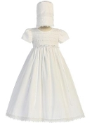 Cotton smocked gown with bonnet