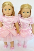 "18"" Doll Pink Ballerina Pearl Dress/Leggings/Slippers"