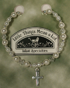 Pearl and Sterling Silver Bracelet w/Cross