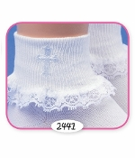 Jefferies White Lace Socks w/Cross