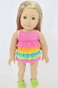 "18"" Doll Rainbow Frill Swimsuit"