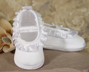 Girls Satin Shoe with Pleated Ribbon