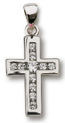 Sterling Silver Cross w/Crystal on 18in Chain