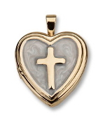 Gold Plated Heart/Cross Locket on 16in Chain