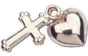 Sterling Silver Heart w/Cross on 16in Chain