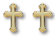 14kt Gold Plated Cross Earrings
