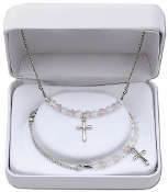 Clear and Pink Necklace and Bracelet Set w/Cross Charms