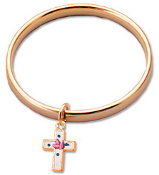Gold Plated Baby Bangle w/Cloissonne Cross