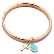 Gold Plated Baby Bangle w/Cross/Medal