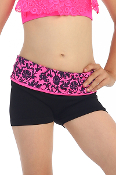 Kids Dance Shorts w/Flower Print Band