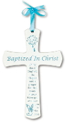 "6"" Blue & White Wood Baptism Cross"