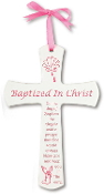 "6"" Pink & White Wood Baptism Cross"