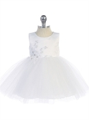 Infant Satin Bodice Dress with Lace Applique and Tulle Skirt