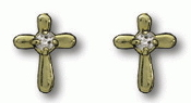 14kt Gold Filled Cross Earrings w/Stone