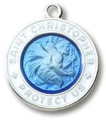 Blue/White Sterling Silver St. Christopher Medal on 18in Chain