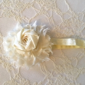 Ivory FOE Headband w/Shabby/Silk Rose