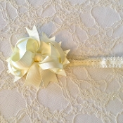 Ivory Lace Headband w/Ivory Boutique Bow