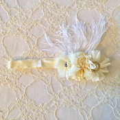 Ivory FOE Headband w/Satin Flowers/Ostrich Feather