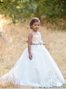 Cream Ivory 3D lace Flower Girl Dress Heidi