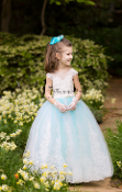 A-line Mint Flower Girl Dress