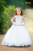 White Lace Ball gown with asymmetrical detail