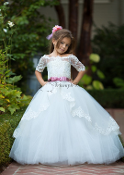 White Lace Off Flower Girl Dress with train