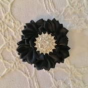 Black Satin Flower Hair Clip