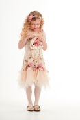 "Baby Biscotti ""Cherished Heirloom"" Chiffon Flowers Christening Gown"