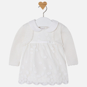 Mayoral Baby girl long sleeve dress with cardigan