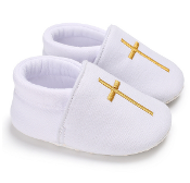 White Slip On Baby Shoe w/Gold Emb.Cross