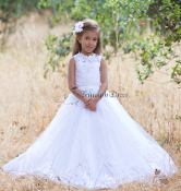 Girls Lace and Tulle Gown with Illusion Neckline