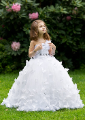Girls Tulle and Lace Gown with Butterfly Details