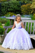 Girls Lavender Lace Flower Girl Dress