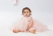 Infant Lace Bodice Ruffled Tulle High-Low Dress