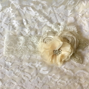 White Lace Headband w/Champagne Flowers/Lace/Rhinestone Leaves